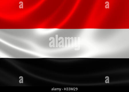 3D rendering of the flag of Yemen on satin texture. - Stock Photo