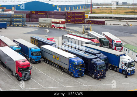 Containers and trucks waiting to board roll-on/roll-off / roro freight ship in the port of Zeebrugge, Belgium - Stock Photo