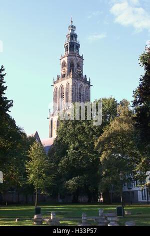 Martinitoren tower seen from Martinikerkhof in late summer, Groningen, The Netherlands - Stock Photo