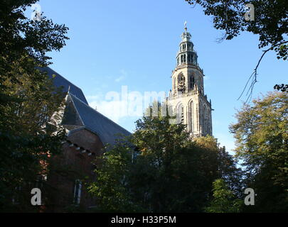 Martini church & tower (Martinitoren) seen from Martinikerkhof in late summer, Groningen, The Netherlands - Stock Photo