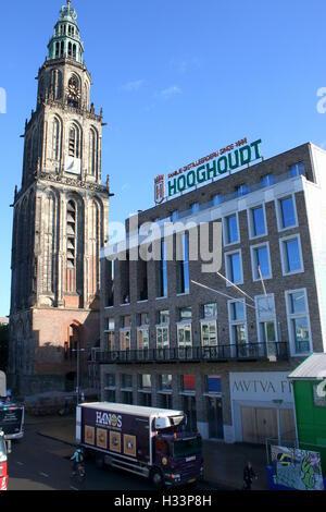 Society building Mutua Fides, student association Vindicat Atque Polit, Grote Markt,  Groningen, Netherlands with - Stock Photo