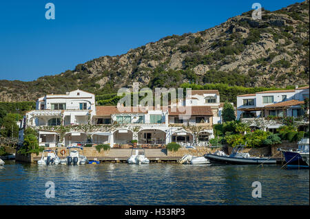 Poltu Quatu luxury resort villge pier, Sardinia - Stock Photo