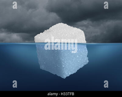 Sugar risk and hidden dietary medical danger concept as an iceberg made from a sugar cube as risky sweet granulated - Stock Photo