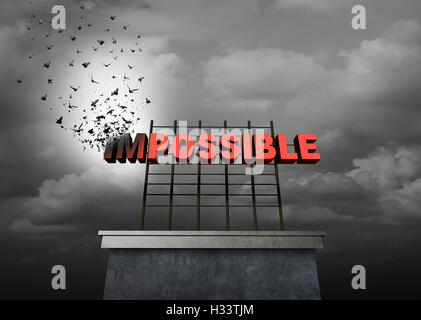 Possible positive thinking concept as a success motivational symbol as text with the word impossible being transformed - Stock Photo