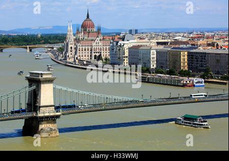 Panoramablick von Buda ueber die Kettenbruecke nach Pest, hinten die Margaretenbruecke, Margareteninsel und Ungarisches - Stock Photo