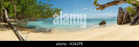Beautiful Seychelles tropical beach Anse Source D Argent at La Digue island - Stock Photo