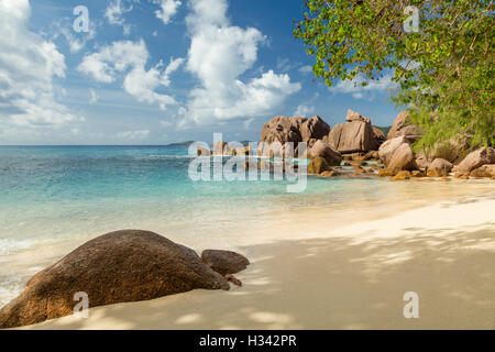 Beautiful Seychelles tropical beach Anse Source D Argent at La Digue island - Stock Photo