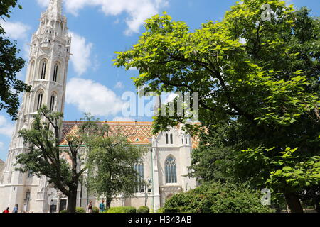 Matthias Church  is a Roman Catholic church located in Budapest, Hungary, at the heart of Buda's Castle District - Stock Photo