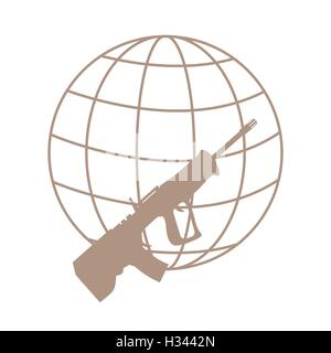 Picture symbolizing the world against weapons: rifle and globe on white background - Stock Photo