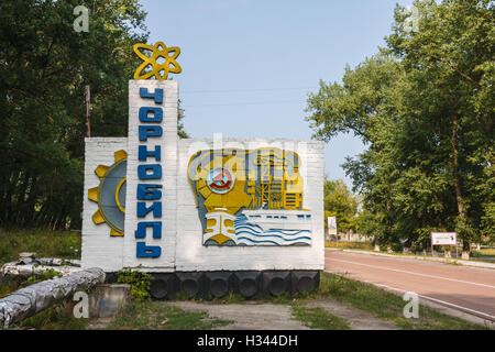 The Chernobyl town sign. Since the explosion of the nuclear power plant most of the town is abandoned. Chernobyl, - Stock Photo