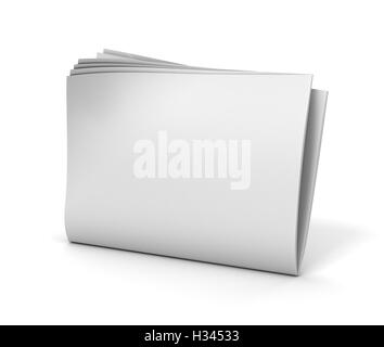blank newspaper isolated  3d illustration - Stock Photo