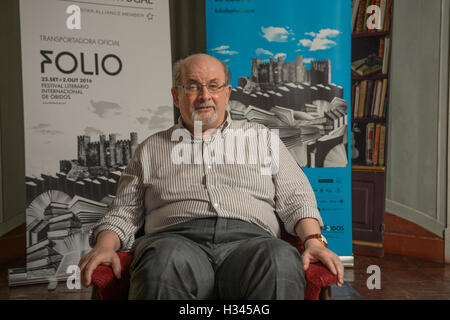 Obidos Portugal. 30 September 2016. British writer Salman Rushdie in Obidos for attending a conference at the FOLIO - Stock Photo