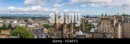 Panoramic view of the centre of Edinburgh in Scotland on a cloudy day - Stock Photo