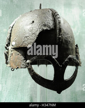 Scandinavia. Viking Age. helmet from chieftain's grave. Iron. Gjermundbu in Ringerike, Eastern Norway. 10th century. - Stock Photo