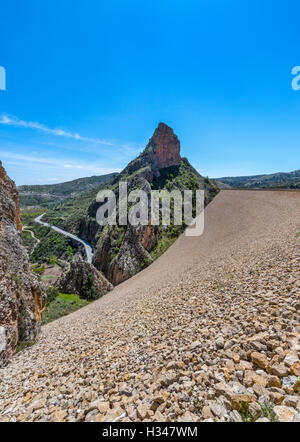 El Portillo Reservoir Wall, Castril, Granada Province, Andalusia, Spain - Stock Photo