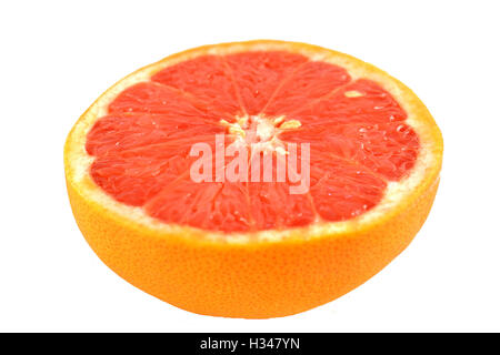 Half red grapefruit isolated on white background. - Stock Photo