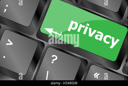Keyboard with privacy text on keyboard - security concept - Stock Photo