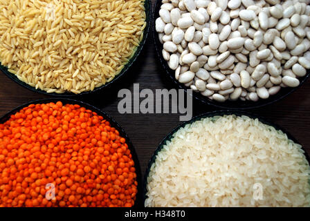 cereals and pulses. Rice, Lentils, haricot bean and barley noodles - Stock Photo
