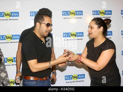 Bollywood singer Mika Singh during a meet and greet session at 92.7 BIG FM for his newly released single Chhorin - Stock Photo