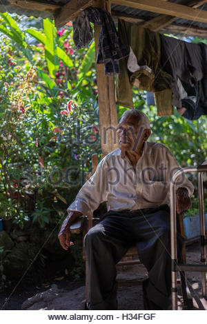 This is a 93 year old man who has lived through many changes in Nicaragua from the Somoza era through the Sandinista - Stock Photo