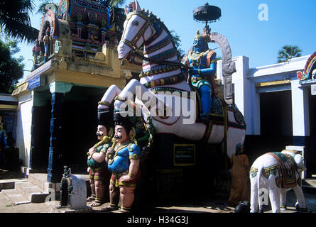 Hindu temple with village gods in Tamil Nadu state of India - Stock Photo