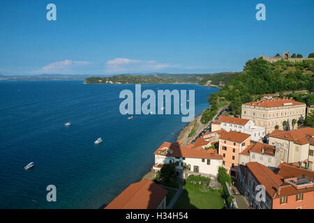 Above view of Piran with castle and boats, Slovenia - Stock Photo