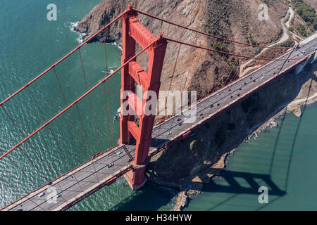 Golden Gate bridge, Marin Headland and San Francisco Bay aerial view. - Stock Photo