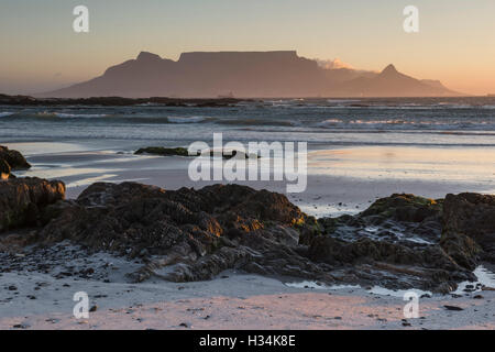 Sunset over Table Mountain from Bloubergstrand, Cape Town - Stock Photo