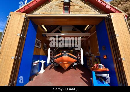 The Lifeboat station in Staithes North Yorkshire England UK - Stock Photo