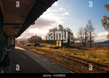 A landscape image of Rannoch Station west platform looking south - Stock Photo