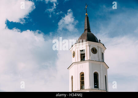 Vilnius, Lithuania. Close Up Of Bell Tower Near Cathedral Basilica Of St. Stanislaus And St. Vladislav In Summer - Stock Photo