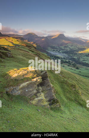 View over the Newlands Valley to Hindscarth and Robinson from Skelwith Bank, Cat Bells, English Lake District national - Stock Photo