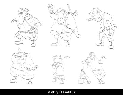 Line drawing vector illustrations of rebels, separatists - Stock Photo