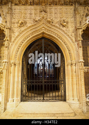 Gate in the stone screen separating the Choir from the Nave, Lincoln Cathedral - Stock Photo