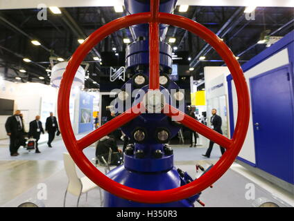 ST PETERSBURG, RUSSIA – OCTOBER 4, 2016: Exhibition at the 2016 St. Petersburg International Gas Forum at the ExpoForum - Stock Photo