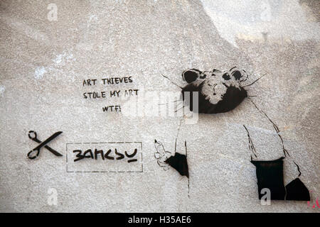 Liverpool, Merseyside, UK. 5th October, 2016. New Art work on site where Banksy's Love Plane had been. The pictures, - Stock Photo