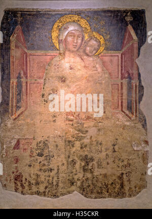 Italy Emilia Romagna Franchigena Way Fidenza - Museum of cathedral -fresco - Enthroned Madonna and Child ( Our Lady - Stock Photo