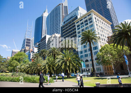 Sydney Royal botanic gardens and high rise office towers skyscrapers in the CBD,Sydney,Australia