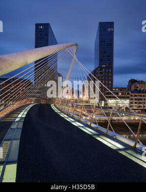 The Zubizuri footbridge, designed by architect Santiago Calatrava, Bilbao, Biscay, Basque Country, Spain, Europe - Stock Photo