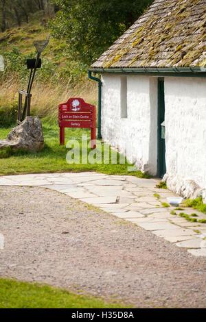 Rothiemurchus Vistors Centre located at Loch an Eilein in the Rothiemurchus Forest in Aviemore, Highlands, Scotland - Stock Photo