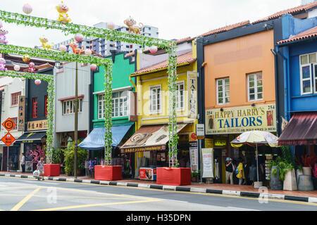 Colourful shophouses in South Bridge Road, Chinatown, Singapore - Stock Photo
