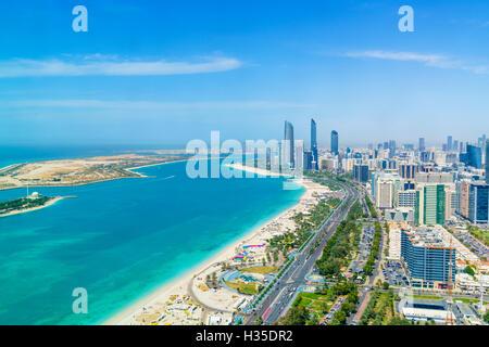Skyline and Corniche, Al Markaziyah district, Abu Dhabi, United Arab Emirates, Middle East - Stock Photo