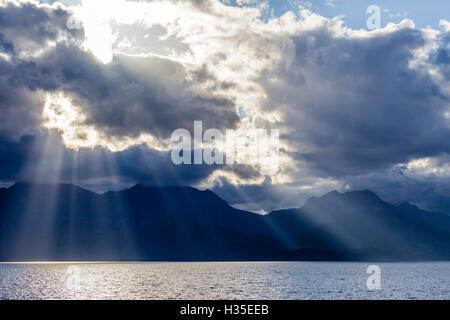 Late afternoon light rays over Isla del Carmen, Baja California Sur, Mexico - Stock Photo