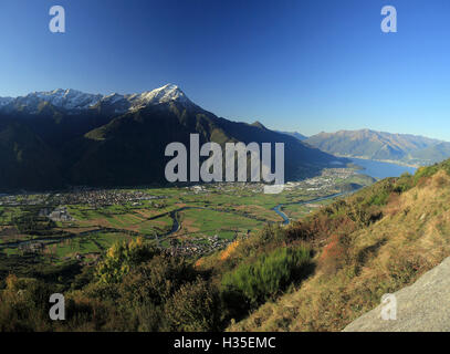 Panorama of Mount Legnone and Lake Como in the background, Valtellina, Lombardy, Italy - Stock Photo