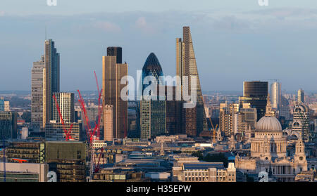 Vew of the City of London from the top of Centre Point tower, London, England, UK - Stock Photo