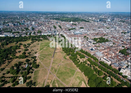 Aerial view of Hyde Park and London, England, UK - Stock Photo