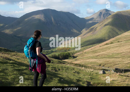 Trekking in the English Lake District in Wast Water with views of Kirk Fell, Lake District National Park, Cumbria, - Stock Photo