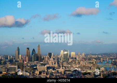 Vew of London skyline and the River Thames from the top of Centre Point tower, The Gerkin, Tate Modern, Tower Bridge, - Stock Photo