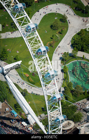 Aerial view of the London Eye, London, England, UK - Stock Photo