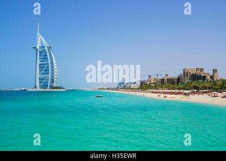 Burj Al Arab hotel, iconic Dubai landmark, Jumeirah Beach, Dubai, United Arab Emirates, Middle East - Stock Photo